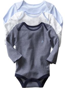 Gap.com: babyGap: Newborn: Long-sleeved essential bodysuit (3-pack): Boy: First Favorites