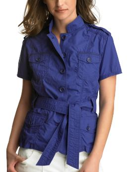 Gap.com: Women: Women: Short-sleeved military jacket: Jackets: Outerwear :  blue military military jacket petite jackets