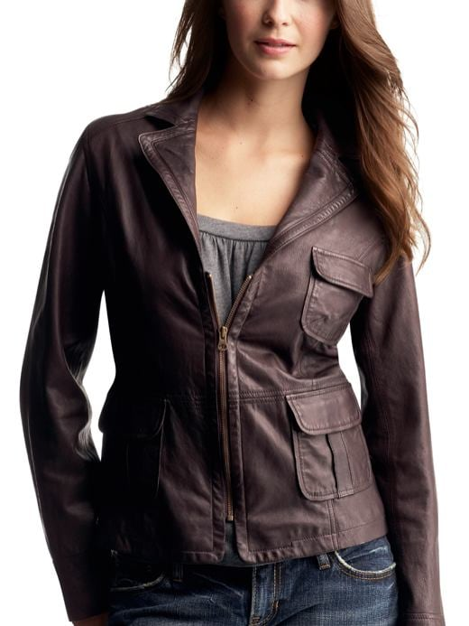 Gap.com: Women: Womens: 3-pocket zip-up leather jacket: Jackets: Outerwear :  jacket gap leather outerwear