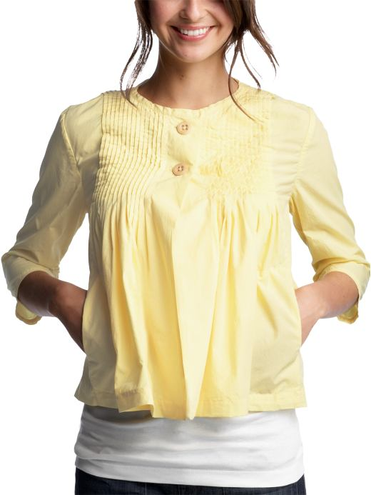 Women's Clothing: Women's Clothing: Pleated yellow shirt jacket: Outerwear New Arrivals | Gap