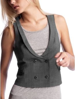 Women's Clothing: Women's Clothing: Cropped double-breasted vest: Outerwear | Gap :  cropped double-breasted vest grey gray womens