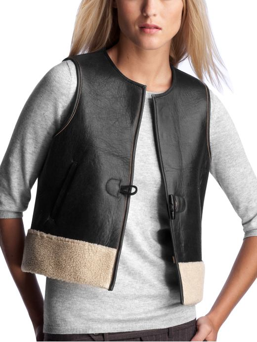 Women's Clothing: Women's Clothing: Cropped leather vest: Outerwear New Arrivals | Gap :  women vest celebrities chic