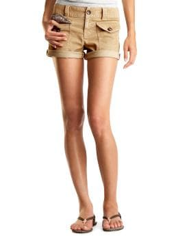 Gap.com: Women: Women: Lightweight corduroy roll-up shorts: Short: Shorts :  buttons cotton shorts khaki
