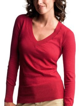 Gap.com: Women: Womens: Long-sleeved V-neck sweater: Vee & Crew Neck: Sweaters :  sleeved long-sleeved v-neck sweater vee crew neck sweaters