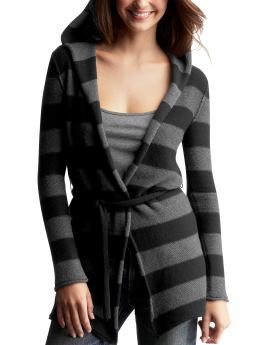 Gap.com: Women: Womens: Striped wrap hoodie cardigan: Cardigans & Hoodies: Sweaters from gap.com