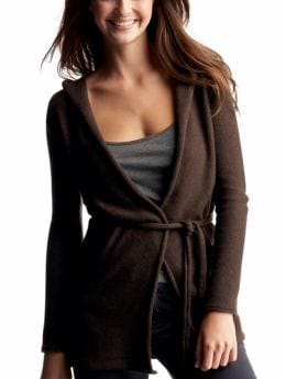Gap.com: Women: Womens: Hooded wrap cardigan: Cardigans: Sweaters :  cashmere cardigan self tie belt hooded wrap cardigan