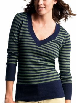 Gap.com: Women: Womens: Striped V-neck sweater: Vee & Crew Neck: Sweaters :  striped womens sweater sweaters