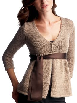 Women: Empire sash cardigan sweater - nut heather