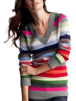 Women: Crazy stripe V-neck sweater - large multi stripe