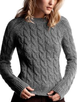 Gap.com: Women: Womens: Wool cableknit crew neck sweater: Tops: New Arrivals :  cable knit crew wool cableknit crew neck sweater grey
