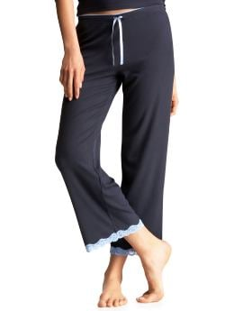 Gap.com: Women: Women: Ribbed lace-trimmed cropped pants: Supersoft Collection: Sleepwear :  cropped ribbed lace-trimmed cropped pants gapcom women