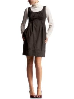 Women: Pleated shift dress - bitter chocolate-brown
