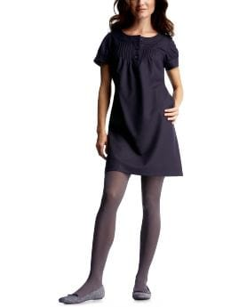 Women: Navy wool henley dress - navy