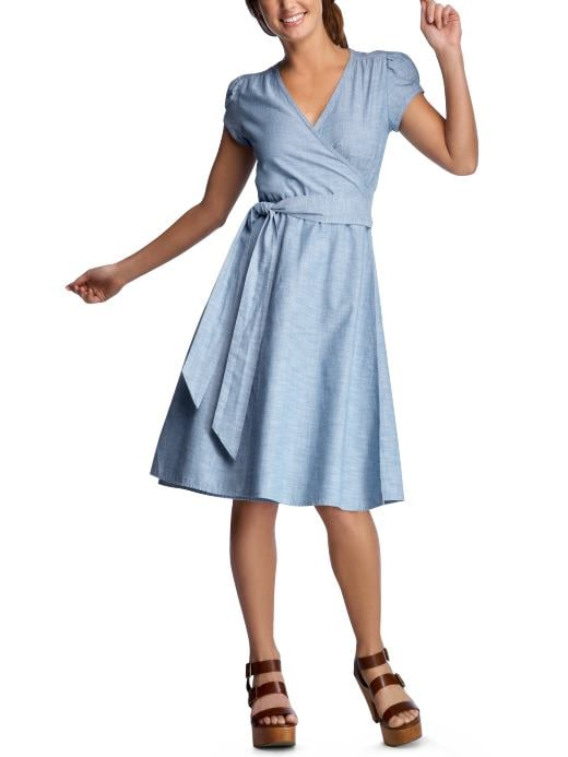 Women's Clothing: Women's Clothing: Chambray wrap dress: Dresses | Gap