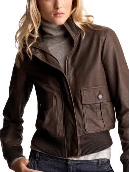 Women's Clothing: Women's Clothing: Leather bomber jacket: Leather Outerwear | Gap