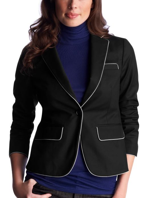Women's Clothing: Women's Clothing: Cropped contrast-trim blazer: Outerwear New Arrivals | Gap :  one button closure three quarter sleeves flap pockets business