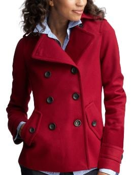 Women: Wool peacoat - cinnabar red
