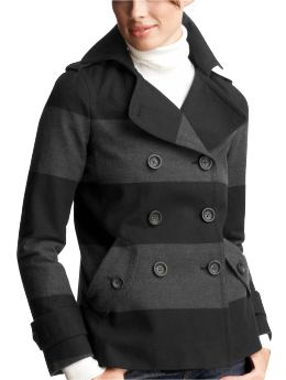 Women's Clothing: Women's Clothing: Rugby peacoat: Coats Outerwear Event | Gap :  cold weather notched collar gray grey