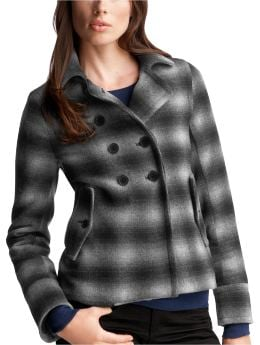 Women's Clothing: Women's Clothing: Shrunken plaid peacoat: Coats Outerwear Event | Gap :  wool womens clothing womens notched collar