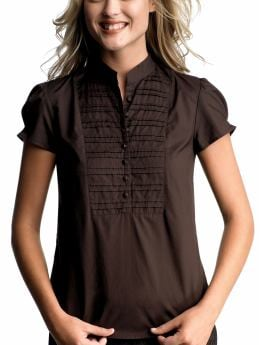 Gap.com: Women: Womens: Pleated bib top: Tops: New Arrivals :  short sleeves pleated bib top silm brown