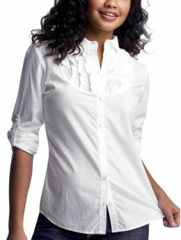 Women: Tall: Solid ruffled roll-up shirt: White Shirts: Shirts | Gap :  white shirts modest womens clothing wear to work modest clothing