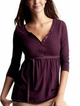 Gap.com: Women: Womens: 3/4 sleeve empire waist top: Long-sleeved: Tops :  sleeved henley 34 sleeve empire waist top long