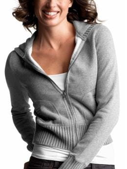 Gap.com: Women: Womens: Sweater trimmed hoodie: Long-sleeved: Tops
