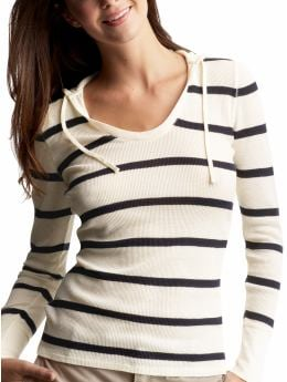 Gap.com: Women: Womens: Striped scoopneck waffle hoodie: Tops: New Arrivals