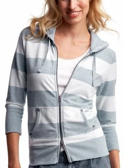 Gap.com: Women: Womens: Striped silk-trimmed zip-up hoodie: Tops: New Arrivals :  striped womens active tops new arrivals womens