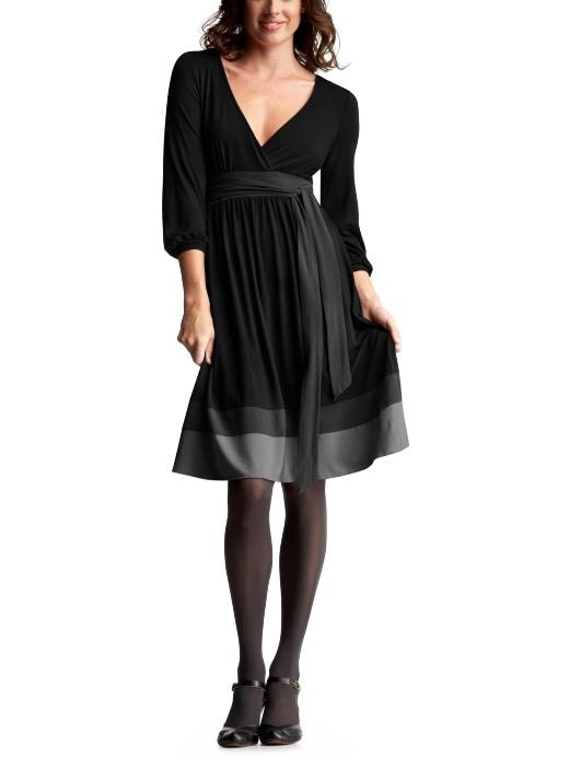 Black OR brown 3/4-sleeved colorblock dress: Dresses: Dresses | Gap :  black dress v-neckline dresses little black dress