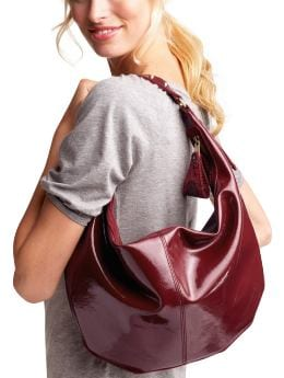 Gap.com: Women: Womens: Small patent hobo: Patent: Handbags :  brushed patentleather like small patent hobo interior pocket