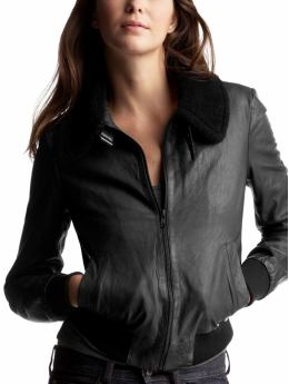 Gap.com: Women: Womens: Leather bomber jacket: Jackets: Outerwear