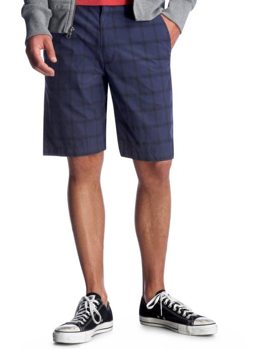 Men: Men: Flat front blue plaid shorts: New Arrivals | Gap