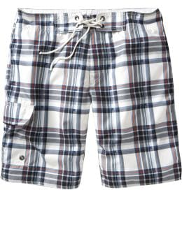 Men: Plaid board shorts - blue combo
