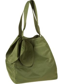 Women: Large nylon tote - iguana green