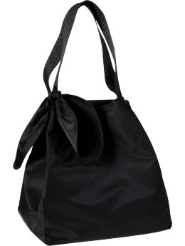 Women: Large nylon tote - true black knit
