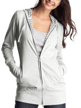 Women's Clothing: Women's Clothing: Waffle-lined long zip-up hoodie: Loungewear New Arrivals | Gap :  drawstring heather grey womens soft