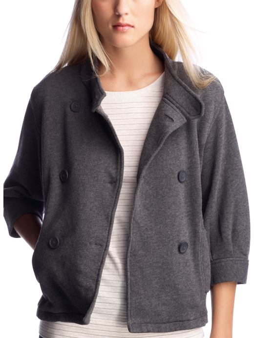 Women's Clothing: Women's Clothing: Double-breasted jacket: Outerwear | Gap :  double-breasted jacket three quarter sleeves grey gray