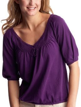 Women's Clothing: Women's Clothing: Elbow-sleeved crochet top: Tops New Arrivals | Gap :  sleeved tee clothing womens clothing