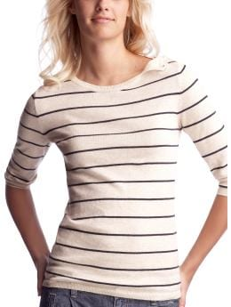 Women's Clothing: Women's Clothing: Shoulder-placket sweater: Tops New Arrivals | Gap :  cashmere three quarter sleeves womens crew neck