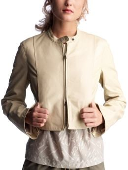 Women's Clothing: Women's Clothing: Cropped leather jacket: Jackets Outerwear | Gap :  jacket classic style jackets