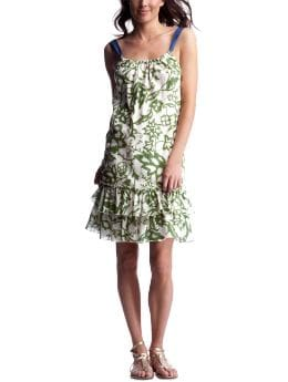 Women's Clothing: Women's Clothing: Tropical-print flounce dress: Dresses | Gap :  floral print saturated colors white green lined