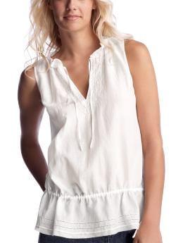 Women's Clothing: Women's Clothing: Sleeveless drawstring top: Tops New Arrivals | Gap :  sleeveless drawstring top clothing white cotton