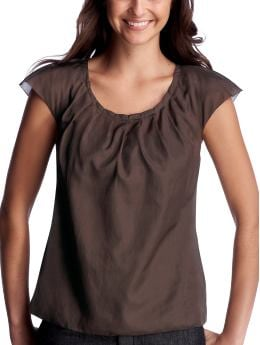 Women: Pleated-neck top - earth brown