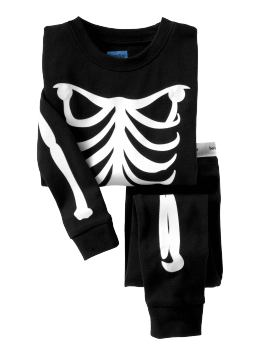 BabyGap: Glow-in-the-dark skeleton long sleep set - basic black