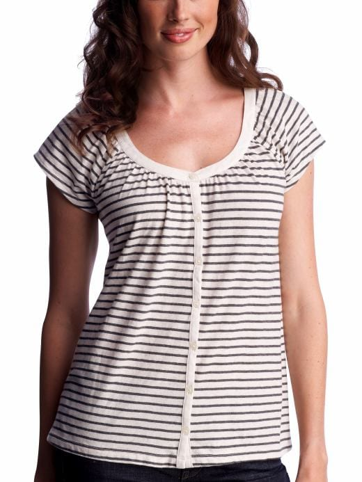 Women's Clothing: Women's Clothing: Organic striped button-front top: Tops New Arrivals | Gap :  short sleeves black and white shirts clothing
