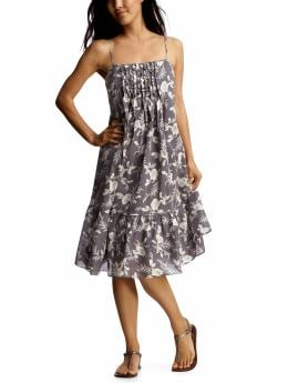 Women: Floral flowy ruffle front dress - blue print