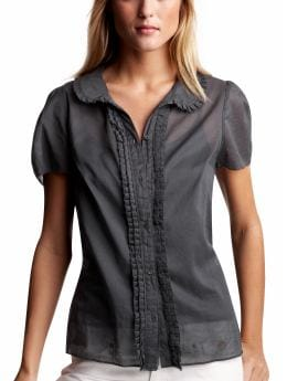 Women: Ruffle-placket blouse - blue slate