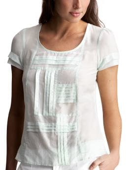 Women's Clothing: Women's Clothing: Pieced pleated top: Short-sleeved Tops | Gap :  loose tiered sheer white