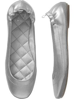 Women: Leather ballet flats - metallic silver